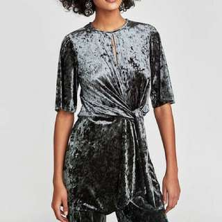 ZARA crushed velvet mini dress BNWT
