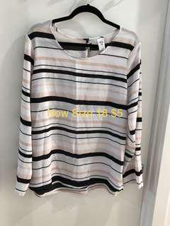 Now Blouse Stripe Size 18 New Never Worn Long Sleeve