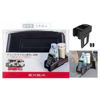🚚 權世界@汽車用品 日本SEIKO 車用後座椅 椅縫插入式 手機架 收納置物盒 雙杯架 飲料架 EB-205