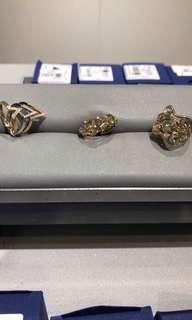 Original Swarovski 3 V ring in Rose , White and yellow gold