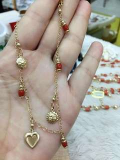 ITALY CORAL ANKLET WITH 10 K GOLD