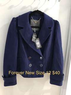 Forever New Blue Jacket Coat New With Tags Never Worn Size 12