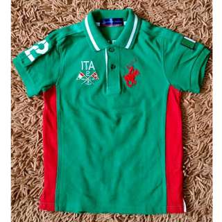 Pony Polo Club Green Red Polo Shirt Boys 6-7T Small USED ONCE