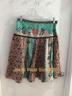 Jeans West Floral Skirt Size 8