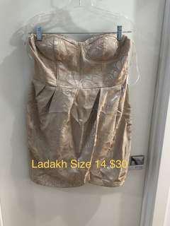 Ladakh Strapless Dress Beige Floral Size 14 New Never Worn