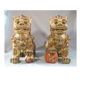 Antique rare porcelain foo dogs pair hand crafted painted circa 1940s used