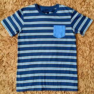 Wills + Harry Boys Blue Yellow Stripes Pocket Shirt 8-10T