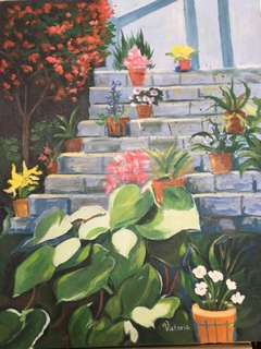 Original Painting by Victoria: Garden on Stairs