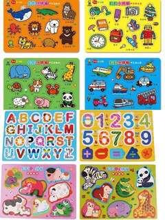 一套八塊台灣直送貝貝嬰兒兒童啟蒙認知中英生活小拼板/啟蒙認知/台灣圖書/台灣故事書/ board book /board card