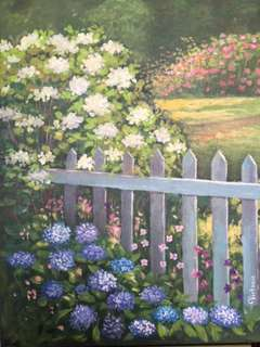 Original Painting by Victoria: Flowers by the Fence