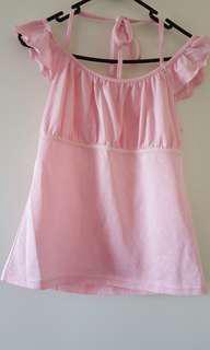 Sweet pink top with halter neck tie