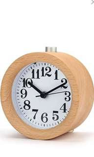 Handmade Classic Small Round Wooden Silent Alarm Clock with Nightlight - intl
