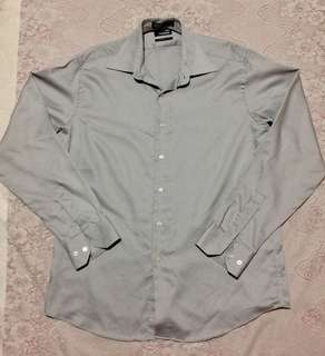 Claiborne modern fit gray long sleeve polo/formal shirt