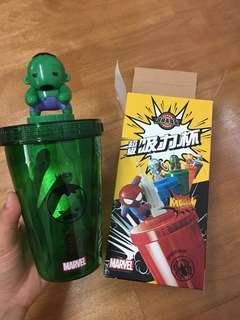 🚚 浩克 marvel 瓶蓋公仔超級吸力杯 (杯子寶特瓶都可以用)
