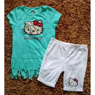 Auth Sanrio Hello Kitty So Cute Fringe Tiffany Top Shorts Set EUC 3T-6T