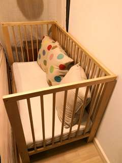 PRELOVED IKEA GULLIVER Baby Cot In Birch Color & VYSSA VINKA Mattress - in excellent condition