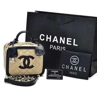 Tas Chanel Vanity Case Caviar Small Krem