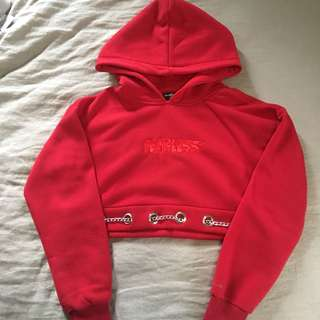 Maniere de voir cropped red hoodie with chains