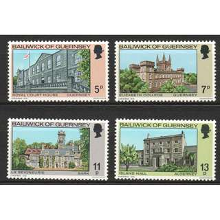 BAILIWICK OF GUERNSEY 1976 CHRISTMAS BUILDINGS IN THE BAILIWICK COMP. SET OF 4 STAMPS SC#141-144 IN MINT MNH UNUSED CONDITION