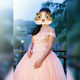 PEACH BALL GOWN FOR RENT