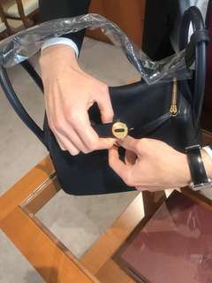 Hermes Lindy 30 in blue nuit (almost black) with gold hardware. Just out of boutique