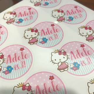 Customised Birthday Baby Shower Full Month 100 day Wedding Engagement Stickers Labels Hello Kitty