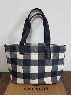 Brand New! Authentic Coach Buffalo Plaid Print Midnight Canvas Tote
