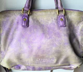 LIEBESKIND Berlin purple leather messenger bag