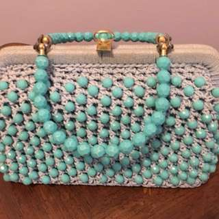 Vintage turquoise purse + coin purse
