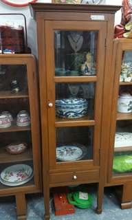 Authentic Old Solid Teak Single Door Display Cabinet