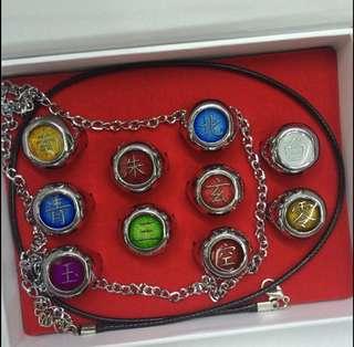 動漫火影忍者合金戒指配飾頸鏈吊墜10件套裝 (美麗推廣系列) (包Buyup自取站取貨) (rings whole set)
