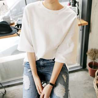 White Top with half sleeve which match all your outfit!