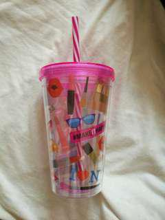 Make up themed drinking cup/bottle with attached straw