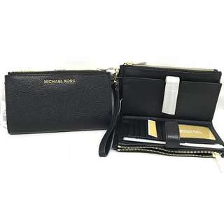 Mk Jetset travel double zip wristlet 19cm Black (fits iphone plus)