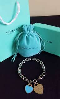 TIFFANY & CO.  blue heart enameled bracelet