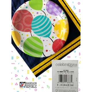 Paper Plates, Shimmering Balloons, 8 Count