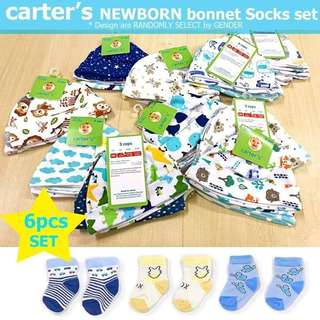 Carters newborn bonnet set