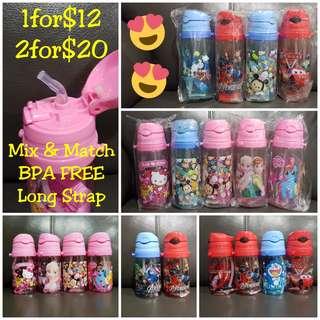 1for$12. 2for$20 Hello Kitty Frozen Tsum Avengers Thomas Cars McQueen Spiderman Little Pony Water Bottle