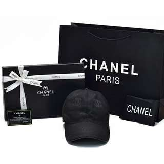 Topi Chanel Baseball Canvas Signature Hitam