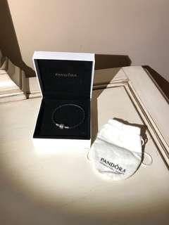 PANDORA Black Double Leather Charm Bracelet SIZE 6.5
