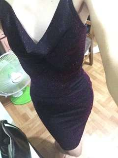 Fitted dress (Violet and black)