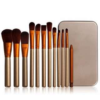 12 Piece Makeup Brush Set (With Tin)
