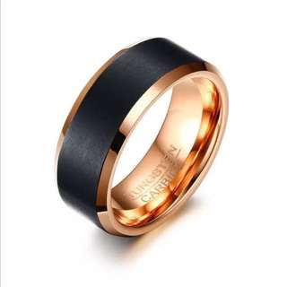 Tungsten Carbide Ring - Black Thick Stripe Rose Gold Based Edition