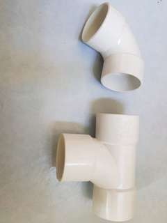 Pvc pipe connector T shape and 90 deg Elbow
