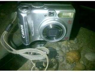 Camera digital merk canon power shot A540, silver, 6 mega pixels, 4x optical zooms ,