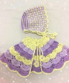 Crochet baby shawl and hat