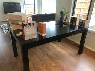 Dining Table & Matching Side Table. Dark Brown Wood. Glass Missing.