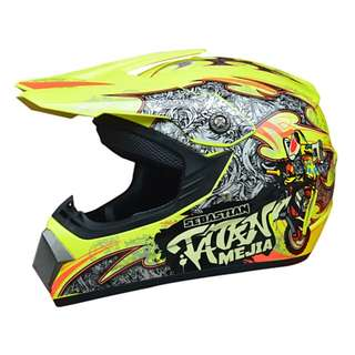Yellow with Black Orange White Designs Full Face Motorcycle Helmet Scrambler Motorcross Motocross Scrambler Off Road Dirt Bike