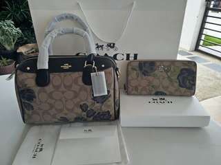 AUTHENTIC FLORAL COACH BAG AND WALLET