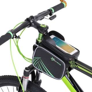 Bicycle Top Tube Bag Bike Front Frame Double Pouch Bags for For 6.0 in Cell Phone Cycling Accessories